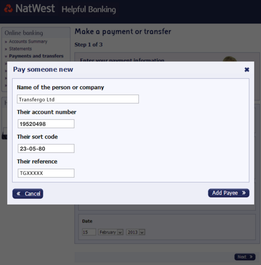 local transfer guide using natwest online bank help