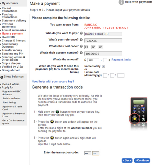 Local transfer guide using HSBC online bank – Help